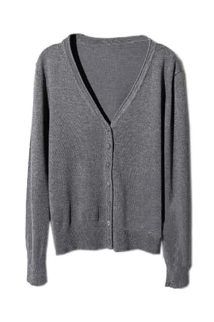 V-neck Single-breasted Dark Grey Cardigan