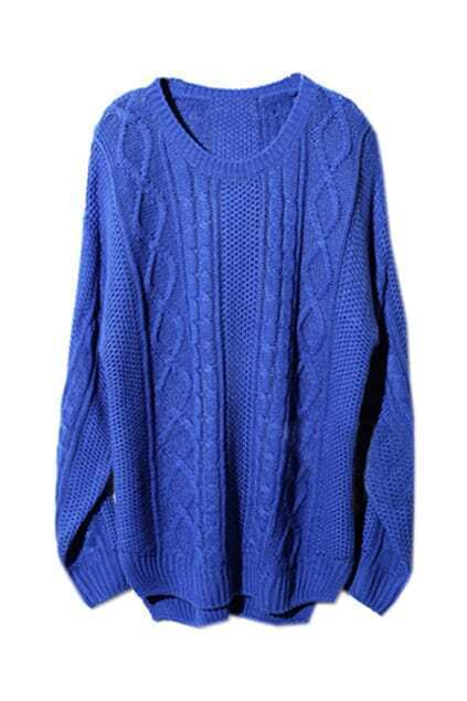 Asymmetric Geometric Serratula Texture Royalblue Jumper