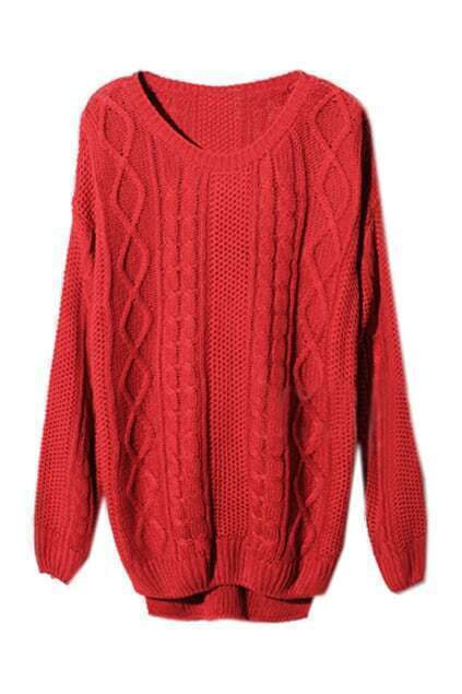 Asymmetric Geometric Serratula Texture Red Jumper
