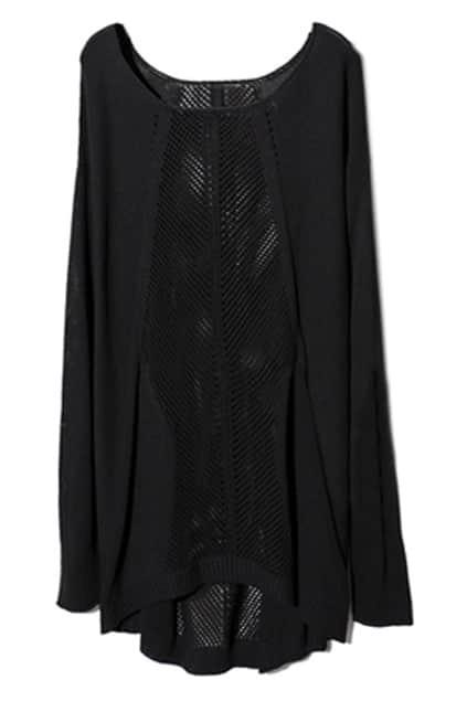 Gothic Symmetric Hollow Black Jumper