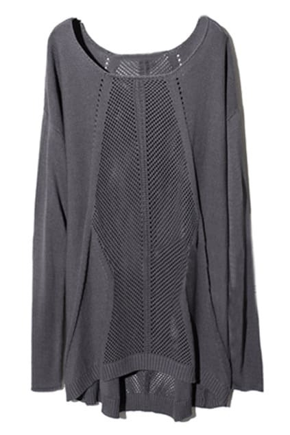 Gothic Symmetric Front Hollow Dark-grey Jumper