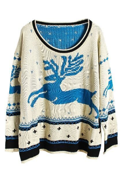 Knitted Deer Print Blue Jumper