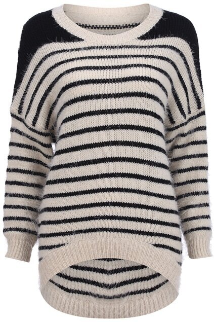 Knitted Stripe Magyar Sleeve Apricot Jumper