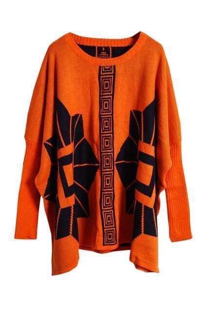 Double Knit Totem Print Orange Jumper