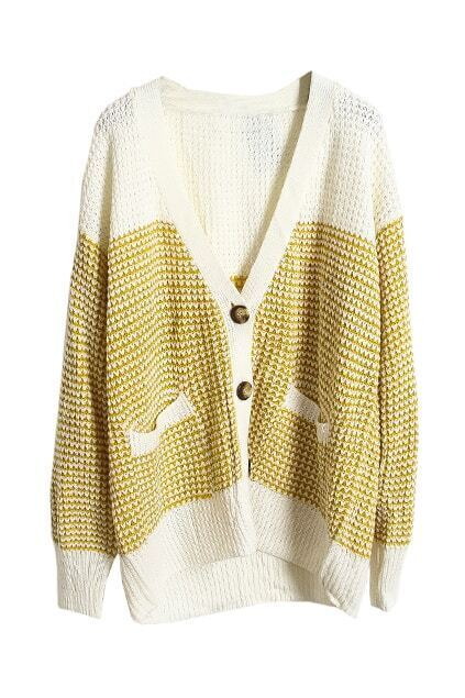 Color Block Single Breasted Yellow Cardigan