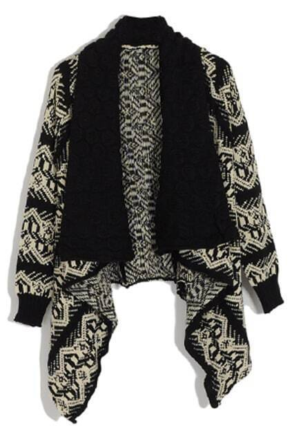 Asymmetric Bohemia Styling Crochect Black-cream Cardigan