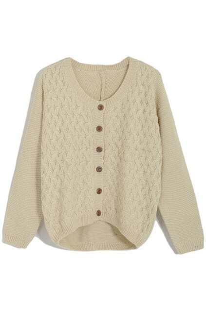 Scoop Neck Single-breasted Beige Cardigan