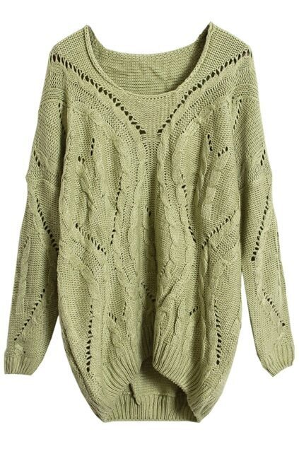 Cable Knit Hollow Pea Green Jumper