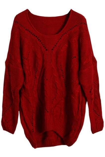 Cable Knit Hollow Red Jumper