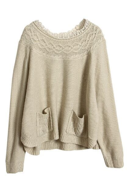 Lace Collar Cable Knit Apricot Jumper
