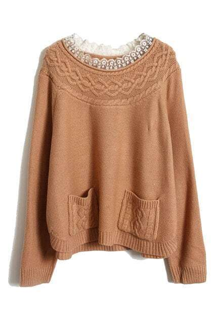 Lace Collar Cable Knit Rubber-pink Jumper