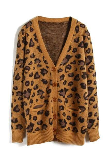 Knitted Leopard Print Brown Cardigan