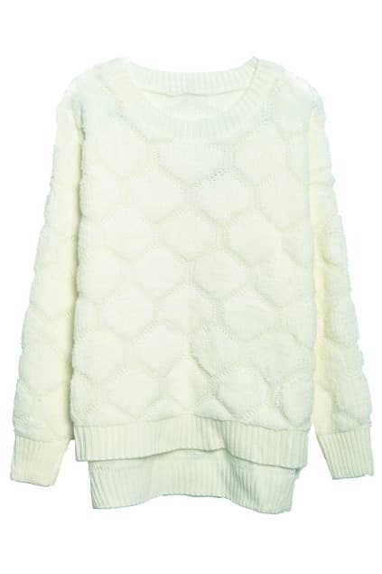 Asymmetric Magyars Diamond Lattice Creamy-white Jumper