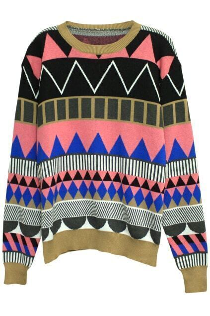 Geometric Bop Patterns Print Pink Jumper