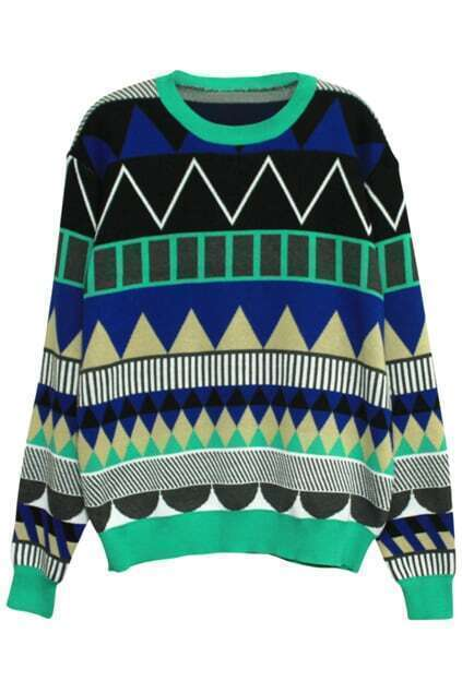 Geometric Bop Patterns Print Mint-green Jumper