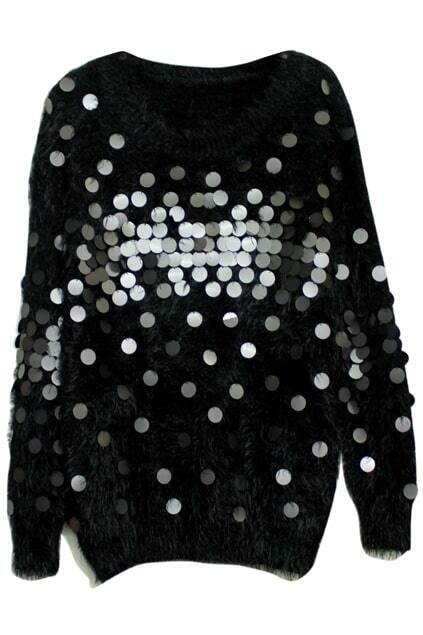 Mohair Tassels Sequins Embellished Black Jumper