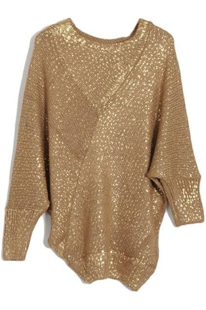 Asymmetric Loose Magyars Coffee Sprayed-gold Jumper