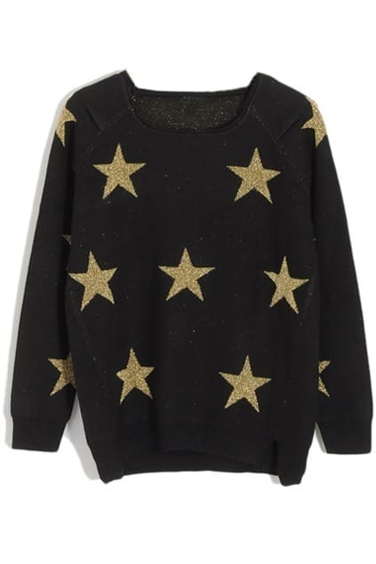 Shiny Five Stars Embroidery Black Jumper
