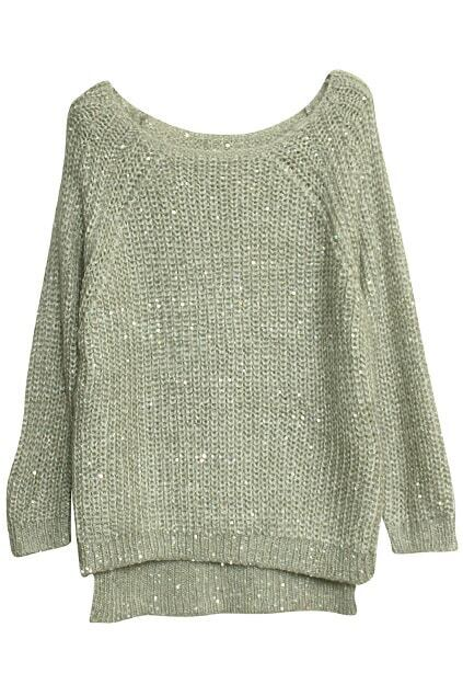 Paillette Batwing Sleeves Grey Jumper