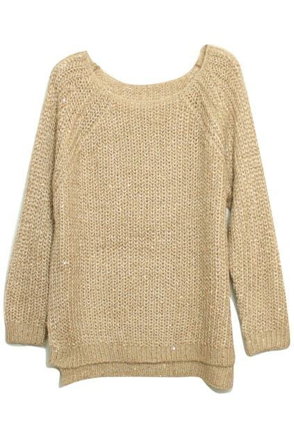 Paillette Batwing Sleeves Apricot Jumper