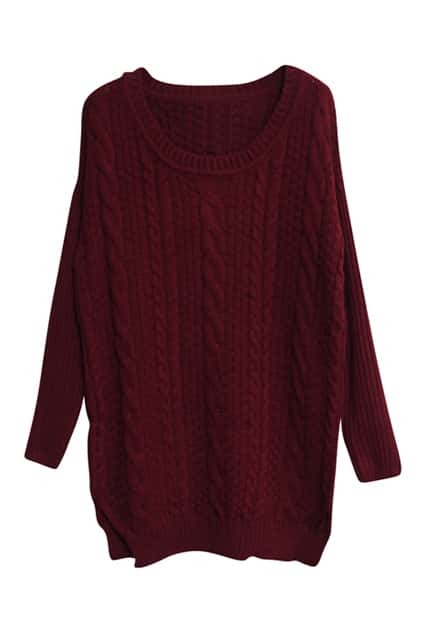 Chunky Cable Knit Dark Red Jumper