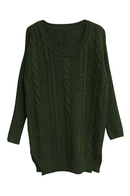 Chunky Cable Knit Green Jumper