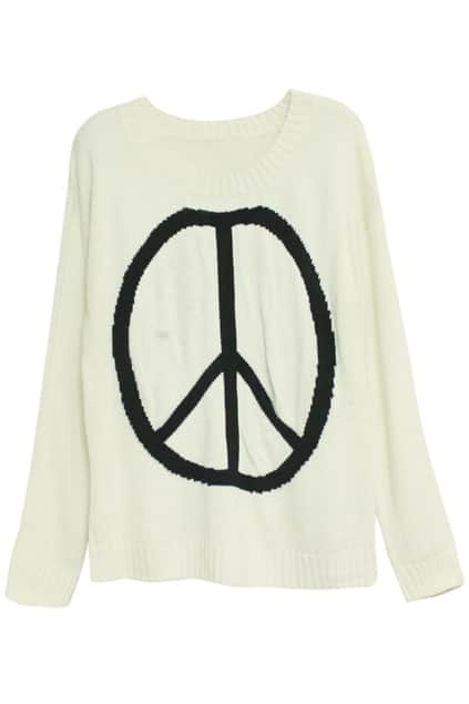 Peace Symbol Cream Jumper