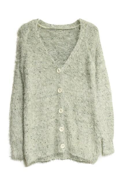 V-shaped Collar White Mohair Cardigan