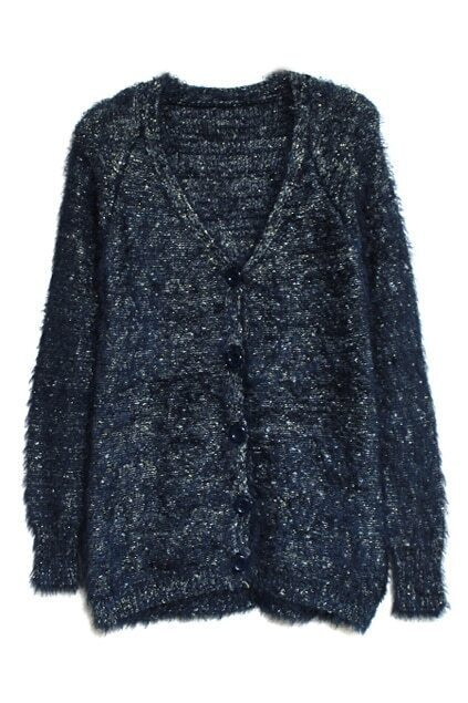 V-shaped Collar Blue Mohair Cardigan