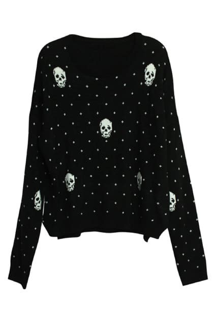 Skull Charm Wave Point Black Cardigan