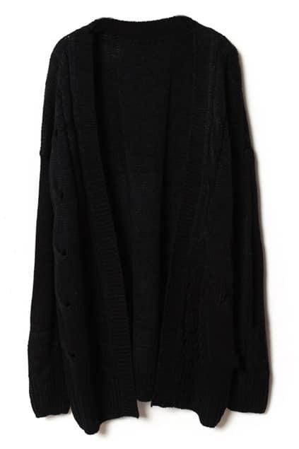 Loose Threaded Serratula Texture Black Cardigan