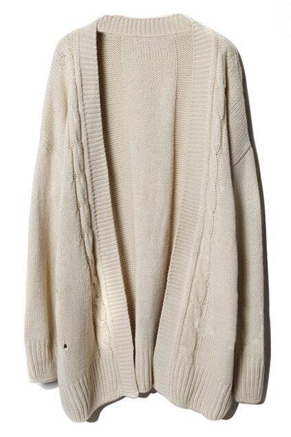 Loose Threaded Serratula Texture Cream Cardigan
