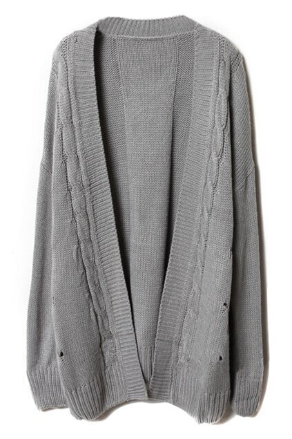 Loose Threaded Serratula Texture Grey Cardigan