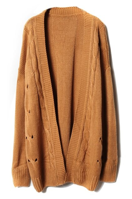 Loose Threaded Serratula Texture Camel Cardigan