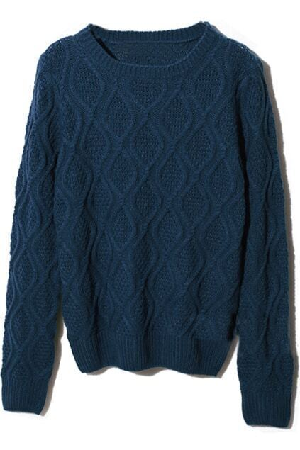 Scoop Neck Rhombus Texture Dark-blue Jumper