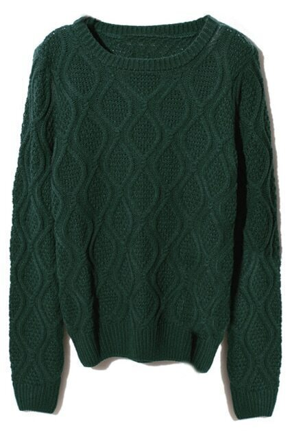 Scoop Neck Rhombus Texture Dark-green Jumper