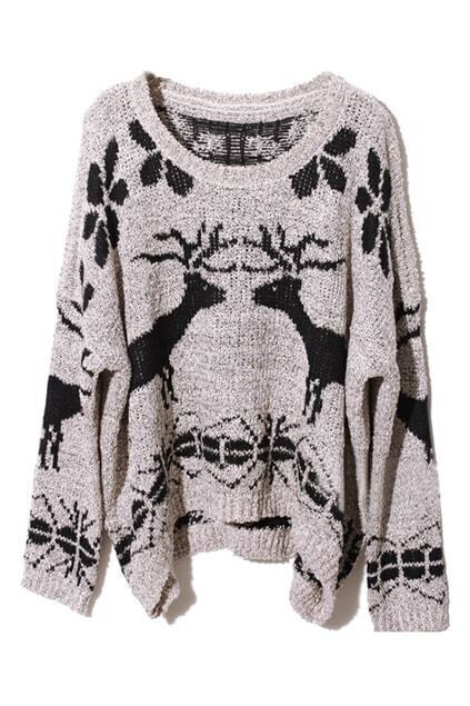 Asymmetric Various-pattern Print Cream-grey Jumper