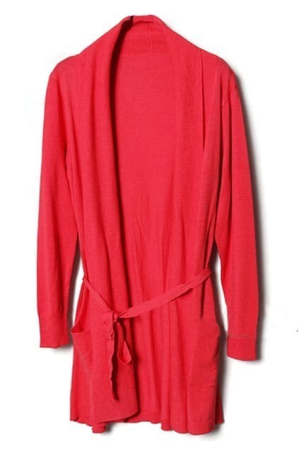 Anomalous Collar Lacing Red Cardigan