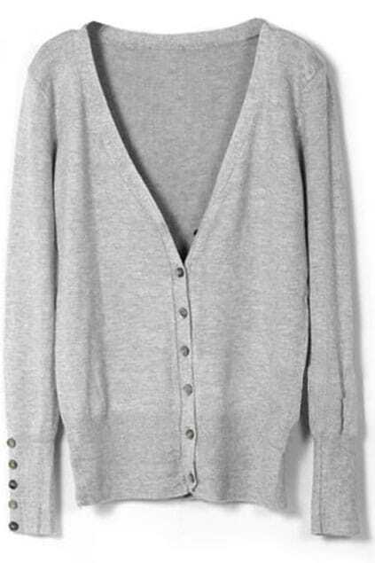 Single-breasted Shell Button Light-grey Cardigan