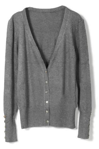 Single-breasted Shell Button Dark-grey Cardigan
