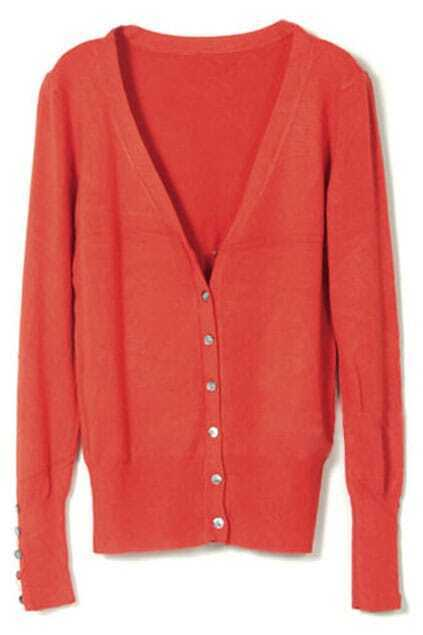 Single-breasted Shell Button Orange Cardigan