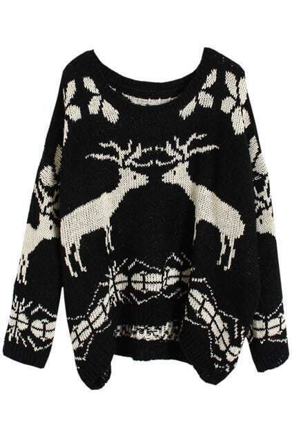 Asymmetric Knitted Elk Black Jumper