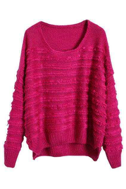 Asymmetric Loose Wide Stripes Rose Jumper
