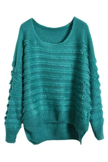 Asymmetric Loose Wide Stripes Blue-green Jumper