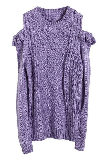 Strapless Flouncing Trim Purple Jumper