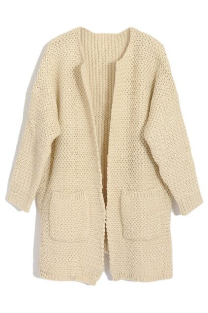 Chic Style Cream Knitted Cardigan