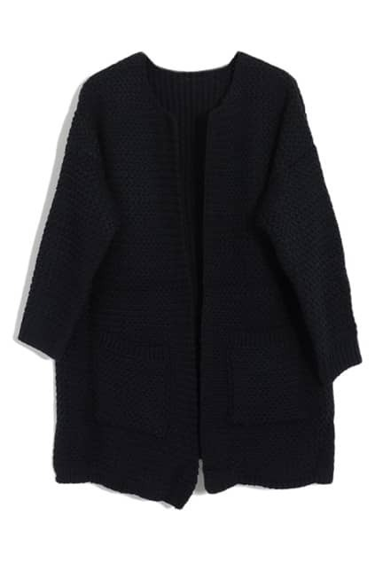 Chic Style Navy Blue Knitted Cardigan