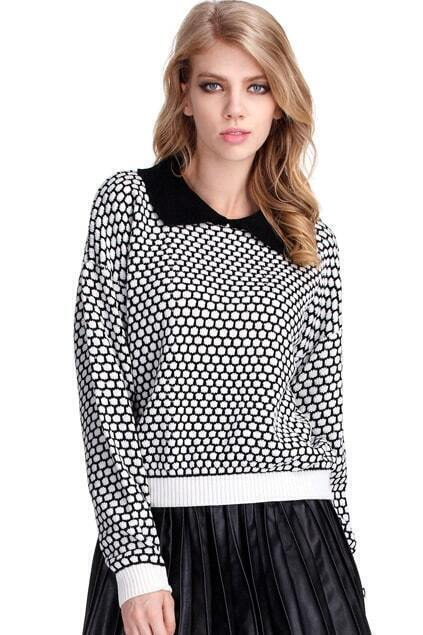Pineapple Dots Color Contrast Black Jumper