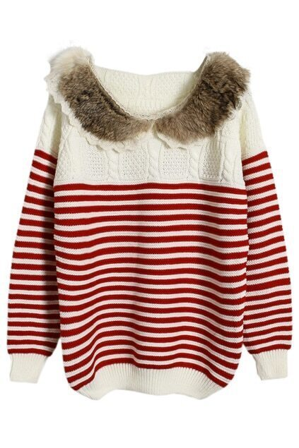 Faux Cony Hair Red Strips Jumper