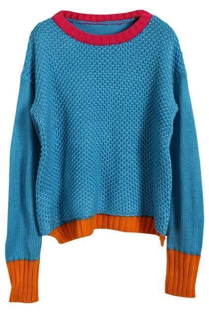 Color Contrast Blue Assymetric Jumper
